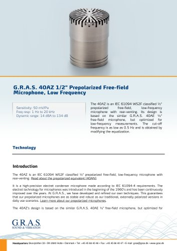 "G.R.A.S. 40AZ 1/2"" Prepolarized Free-field Microphone, Low Frequency"