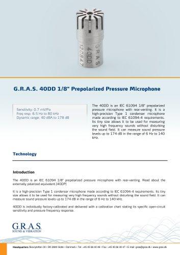 "G.R.A.S. 40DD 1/8"" Prepolarized Pressure Microphone"