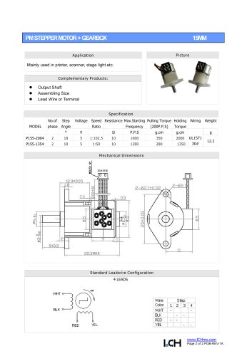 Permanent Stepper Motor Gearbox 15mm