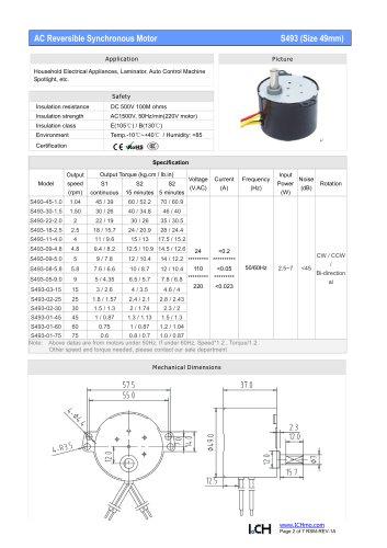 S493(49mm) 1~75rpm,70~0.6kg.cm