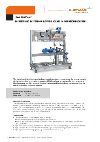 LEWA ecofoam - The metering system for blowing agents in extrusion processes