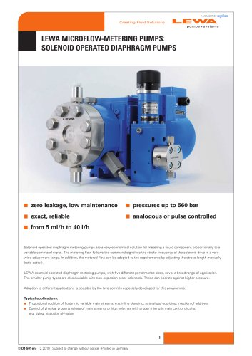 LEWA Microflow Metering Pumps: Solenoid Operated Diaphragm Pumps