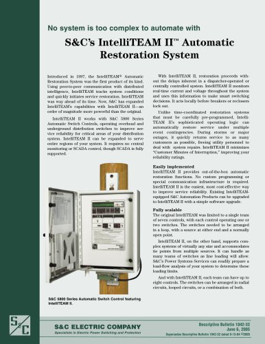 S&C?s IntelliTEAM II ? Automatic Restoration System