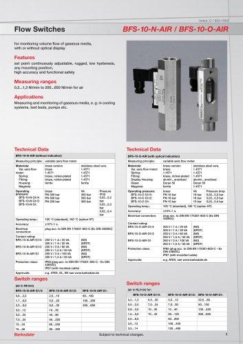Flow Switches BFS-10-N-AIR / BFS-10-O-AIR