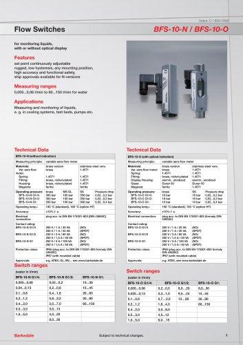 Flow Switches BFS-10-N / BFS-10-O