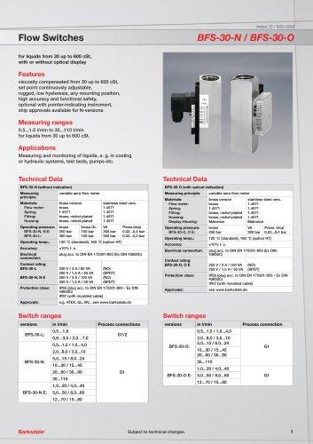 Flow Switches BFS-30-N / BFS-30-O