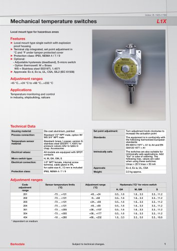 Mechanical temperature switches L1X