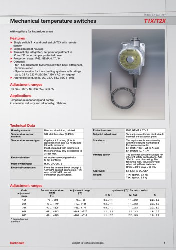 Mechanical temperature switches T1X/T2X