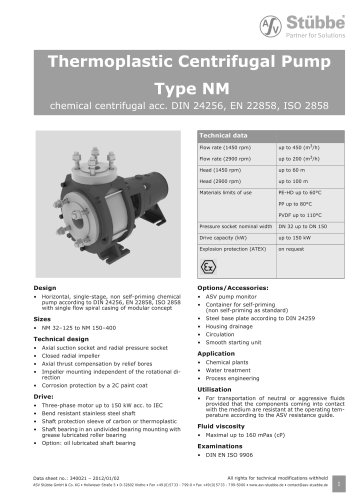 Thermoplastic Centrifugal Pump Type NM