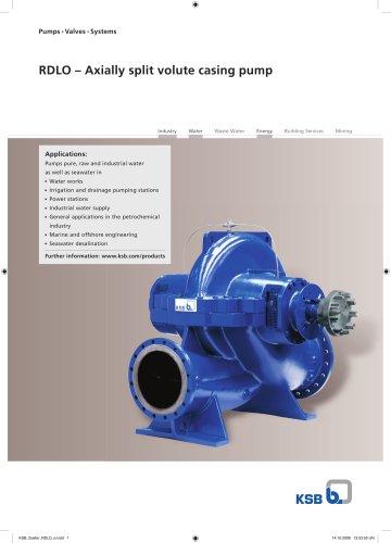 Axially split volute casing pump