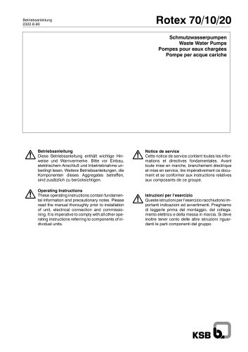 Operating Instructions Rotex,