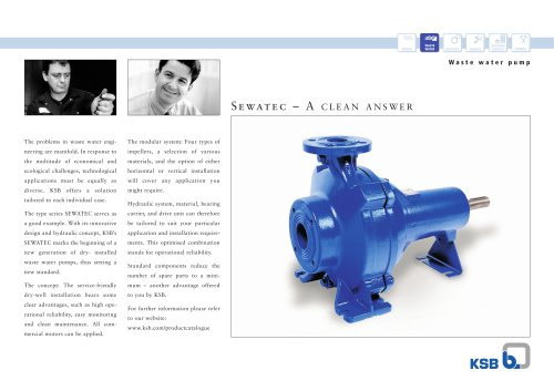 Sewatec double-sided product leaflet