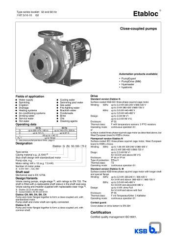 Type series booklet 50/60 Hz Etabloc