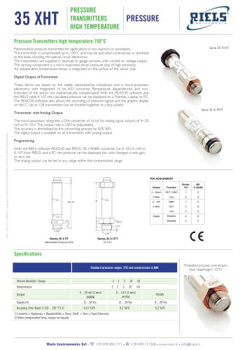 35XHT Pressure transmitters high temperature Riels