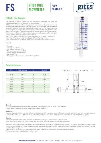 FS Pitot Tube Flowmeter Riels Instruments