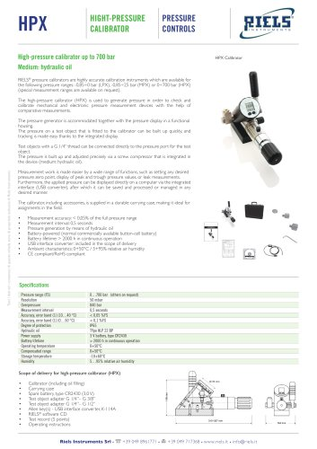 HPX High pressure calibrator Riels® Instruments