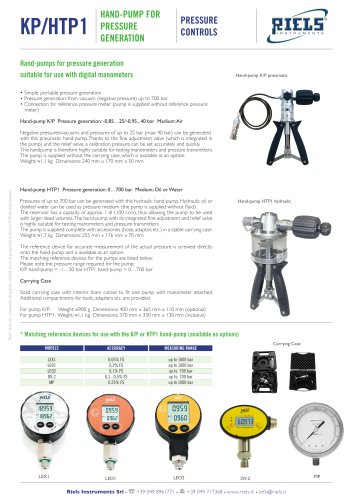 KP_HTP1 Hand pump for pressure generation Riels