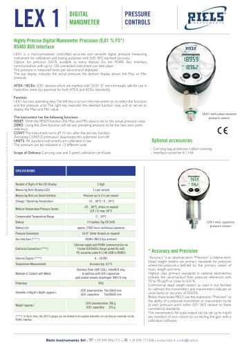 LEX1 Highly Precise Digital Manometer Riels