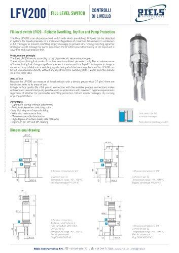 LFV200 Riels Instruments vibration level switch