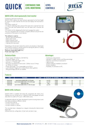 QUICK LEVEL Continuous Tank Level Riels® Instruments