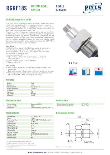 RGRF18S Optical Level Switch Riels® Instruments