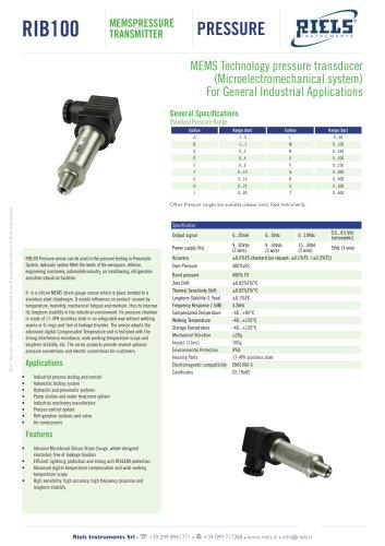 RIB100 Pressure transmitters Riels® Instruments
