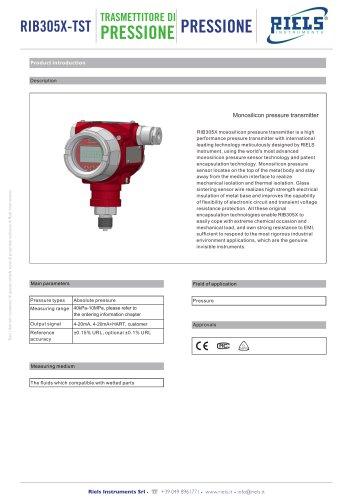 RIB305X-TST-S_Pressure transmitter Riels Instruments