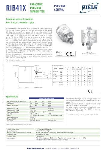 RIB41X Capacitive Pressure Transmitter Riels Instruments