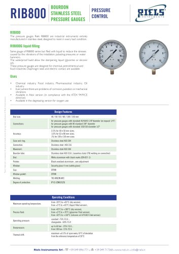 RIB800 Bourdon stainless steel pressure gauges Riels Instruments