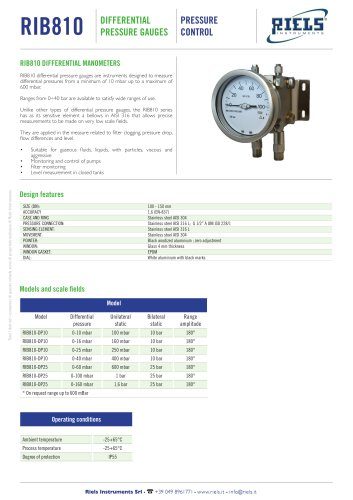 RIB810 Differential pressure gauge RIELS Instruments