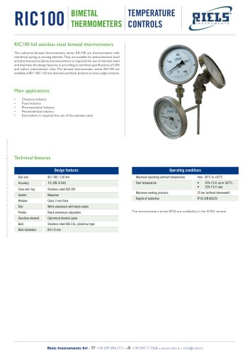 RIC100 Bimetal Thermometers Riels Instruments