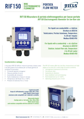RIF150 Electromagnetic Flowmeter Riels Instruments