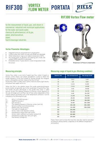 RIF300 Vortex Flowmeter Riels® Instruments