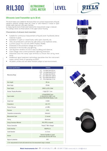 RIL300 Ultrasonic Level Meters Riels® Instruments