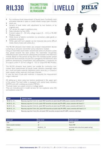 RIL330 Ultrasonic Level Meter Riels Instruments