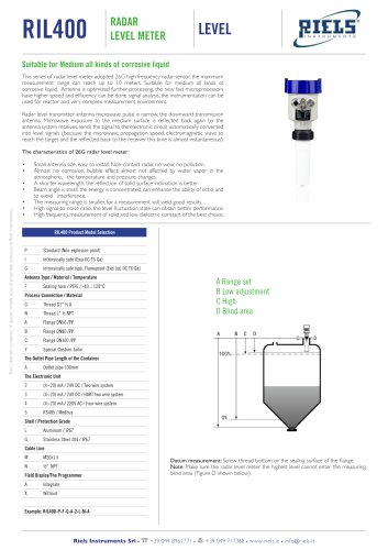 RIL400 Radar Level Meter Riels® Instruments