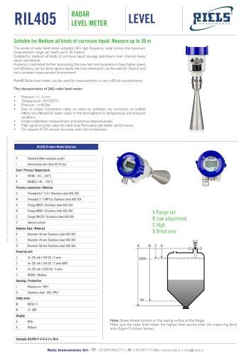 RIL405 Radar level meter for corrosive liquide Riels® Instruments