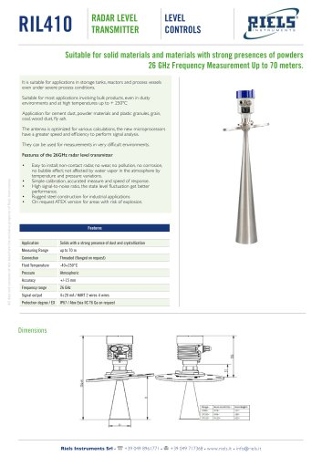 RIL410 Radar Level Transmitter Riels® Instruments