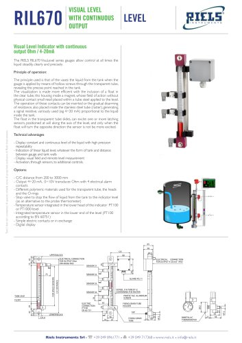 RIL670 Visual level indicator with continuous output 4÷20 mA Riels Instruments