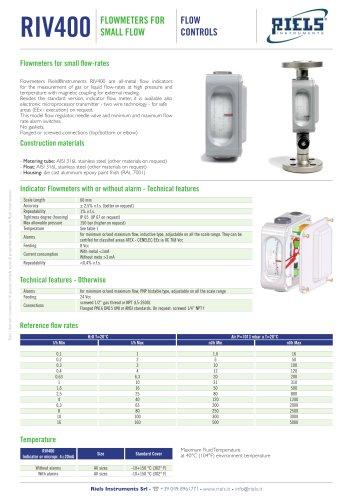 RIV400 Flowmeters metal tube for small flow Riels®Instruments