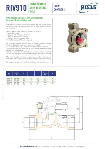 RIV910 Flow control with floating ball Riels® Instruments