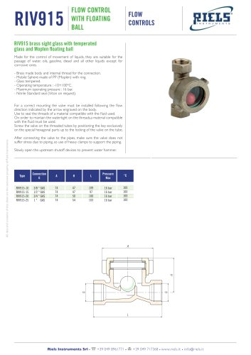 RIV915 Flow control with floating ball Riels® Instruments