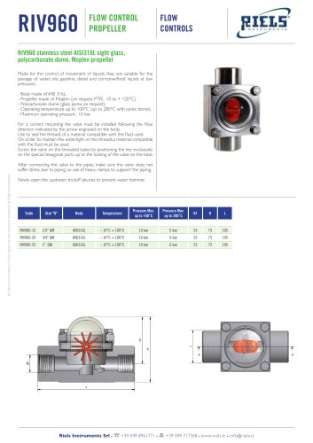 RIV960 Flow control propeller AISI316L Riels® Instruments
