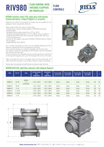RIV980 Flow control with flappers or propeller Riels® Instruments