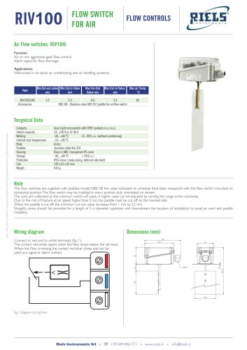 SL Flow switch for air Riels®Instruments