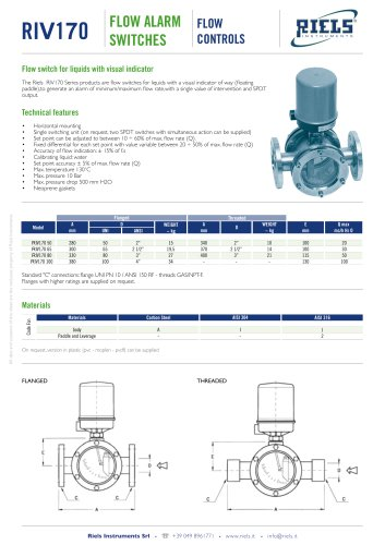 TGO Paddle Flow Switch Riels® Instruments
