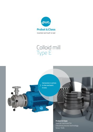 Colloid mill Type E