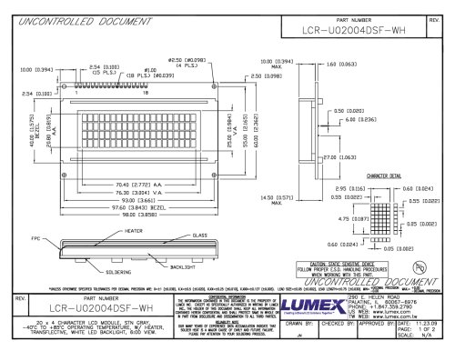 LCR-U02004DSF-WH Character Modules 20 x 4