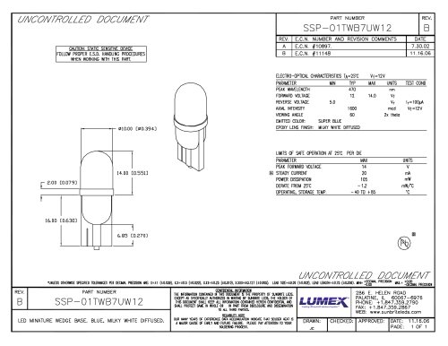 SSP-01TWB7UW12 LED Miniature Wedge Base