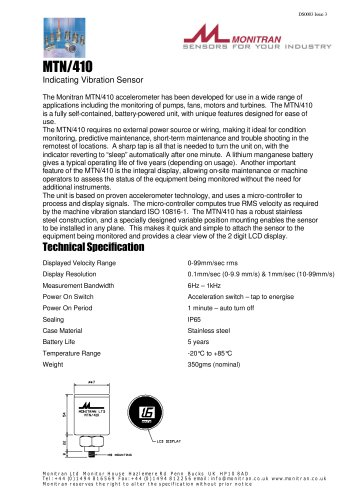 condition monitoring and diagnosis system  MTN/410
